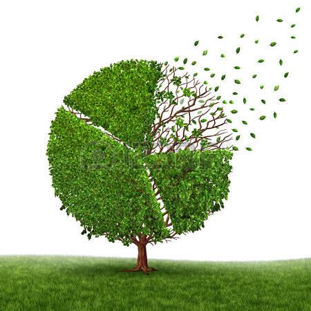 48666919-Финансовые-потери-рынка-и-потери-прибыли-в-виде-круговой-диаграммы-в-дереве-растут-зеленые-листья-па